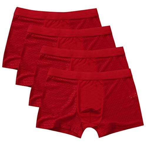 BIBOKAOKE-herren-Unterhosen,4er Pack Eisseide spurlos Atmungsaktiv Herren Boxershorts Mesh Comfortable Männer Unterwäsche Set
