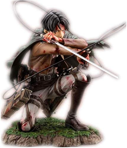 LJXGZY De Handmade Attack On Titan Figura Levi Ackerman Battle Damage Ver Figura Anime Figura Coleccion Decoracion Modelo Regalo de cumpleanos Estatua