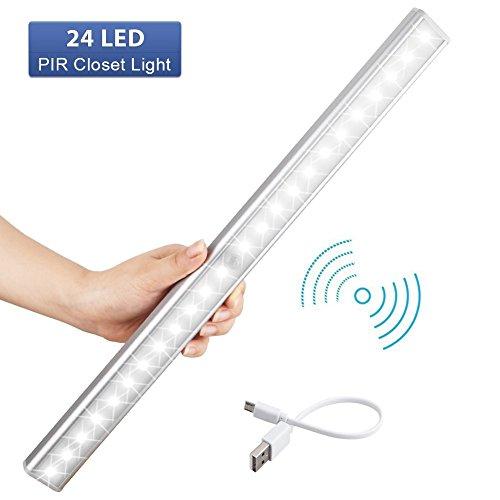 LED Schrankbeleuchtung, USB LED Nachtlicht mit Bewegungsmelder, Auto ON/OFF 3 Modi für Kabinett, Kleiderschrank, Waschraum, Küche, Schlafzimmer, Schrank Lichter, Energieeffizient(24LED)