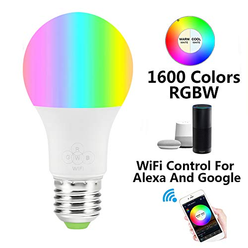 Lampadina Smart Wi-Fi, Lampadina Alexa dimmerabile 16 milioni colori, compatibile con Amazon Alexa e Google Home Assistant, Nessun hub richiesto, E27 4.5W