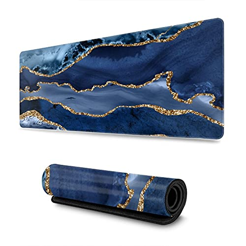 Gold Veined Blue Marble Agate Striped Texture Gaming Mouse Pad XL, Extended Large Mouse Mat Desk Pad, Stitched Edges Mousepad, Long Non Slip Rubber Base Mice Pad, 31.5 X 11.8 Inch