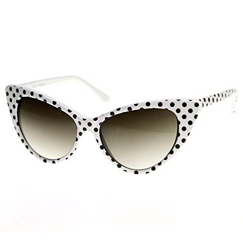 zeroUV - Super Cateyes Vintage Inspired Fashion Mod Chic High Pointed Cat-Eye Sunglasses (White-Black/Smoke Gradient, 54)