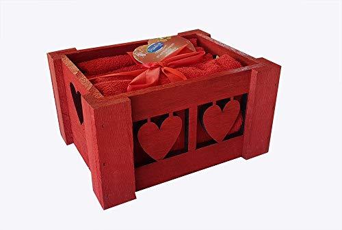M&O Set Confezione Cestino 6 Pezzi ASCIUGHINI Lavette Natale Natalizie Mini SALVIETTE Bagno Ospiti Colore Rosso Natale Idea Regalo Renne