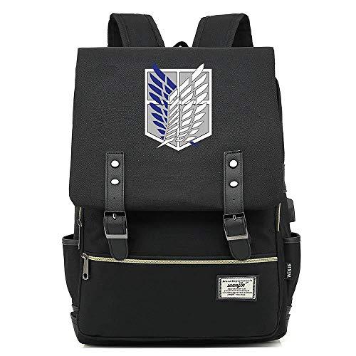 Memory meteor Attack on Titan Backpack Survey Corps Eren Anime Shoulder Bag Schoolbag,Rucksack with Scouting Legion Logo,Schwarz