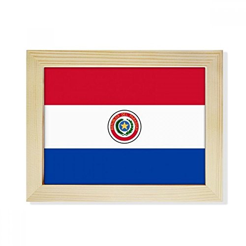 DIYthinker Paraguay National Flagge Südamerika Land Desktop-HÖlz-Bilderrahmen Fotokunst-Malerei Passend 15.2 x 20.2cm (6 x 8 Zoll) Bild Mehrfarbig