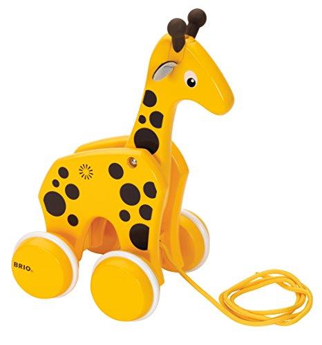 BRIO - 30200 - Girafe à tirer - Jouet à tirer en bois certifié FSC - Jouet d'éveil premier age - Stimule la marche - Roues silencieuses - A partir de 12 mois
