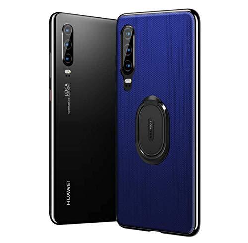 kkkie Hülle kompatibel Huawei P30 / P30 Pro, Ultra Dünn Silikon TPU Case Rutschfeste Getreide Schutzhülle Stoßfest Handyhülle Mit Ringhalter compatibel Huawei P30 lite (Blau, P30 Pro)