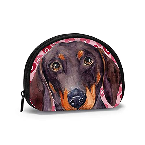 Portamonete a tema stampato con cane salsiccia rosa Borsa...