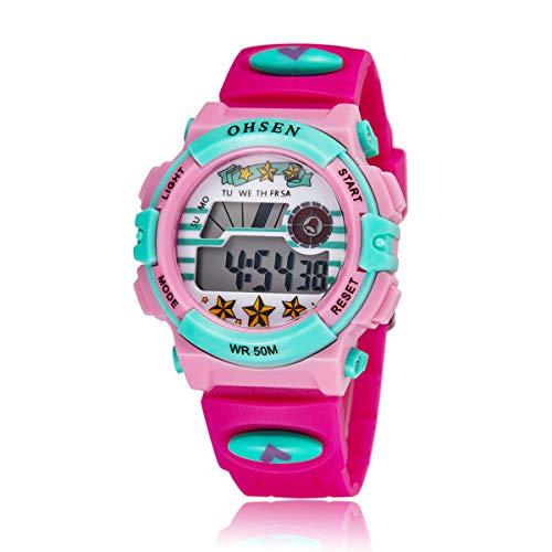 Ohsen Multifunktions-wasserdichte Hintergrundbeleuchtung Anzeige Quarz Sport Unisex Kinder Uhr mit Stoppuhr/Datum/Alarm (1603 Rosy)
