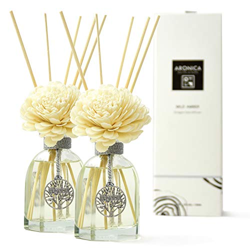 Aronica Octagon Flower and Reed Diffuser 4.4oz/130 ml (2 Pack/Limoncello+Mild Amber)