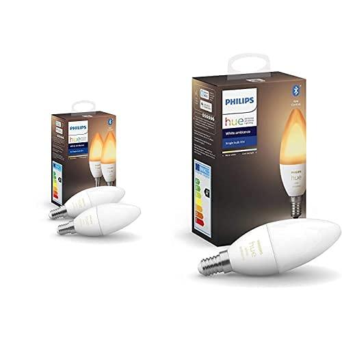 Philips Hue Bombilla Inteligente VelaLED E14 (Pack de 2) + Bombilla Inteligente Vela LED E14
