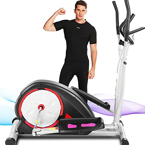 FUNMILY E650 Elliptical Machine, Magnetic Ellptical Exercise Machine with LCD Display and Pulse Rate Grips, Smooth Quiet Driven for Home Office Workout, Max Capacity Weight 350LBS