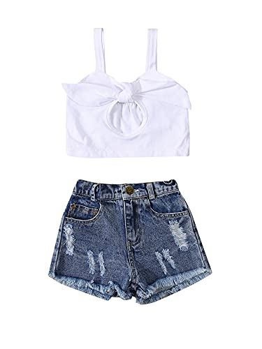 Toddler Baby Girl Jeans Shorts Set One Shoulder Lace Ruffle Top + Denim Shorts Summer Casual (Ripped, 4-5Y, 4_Years)