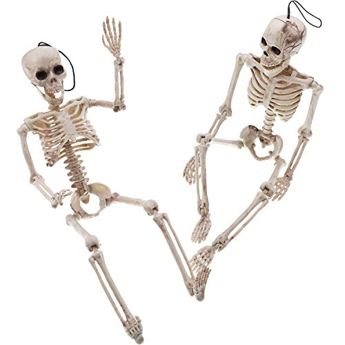 Tatuo 2 Sets 15.8 Inches Halloween Skeleton Full Body Plastic Posable Skeleton with Movable/ Posable Joints for Haunted Houses Graveyard Scene Halloween Decoration (Style 2)