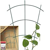 KADAX Blumengitter aus Stahl, 3er Set, Rankgitter, Rankhilfe für Kletterpflanzen, Pflanzenstielstütze, Blumenstütze, Gitterspalier, Pflanzengitter (42 x 31 cm)