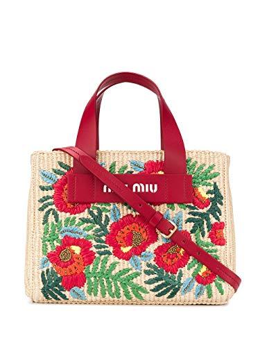 Miu Miu Luxury Fashion Damen 5BA176VORI2C9HF029R Multicolour Grobes Leinen Handtaschen | Frühling Sommer 20