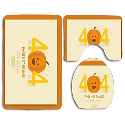 Conjuntos de alfombrillas de baño Figuras de terror divertidas de Halloween 404 Error de página Vista previa Alfombra con contorno Tapa de inodoro en forma de U, antideslizante, lavable a máquina, jue