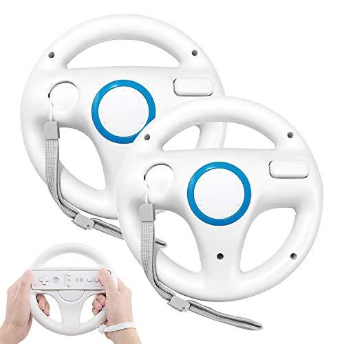 Wii Lenkrad (2 PCS), PowerLead Wii Controller Lenkrad Mario Kart Racing Wheel Game Controller für Nintendo Wii Remote Game - Weiß