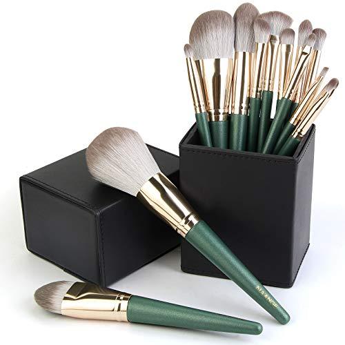 MAANGE Makeup Brushes, 14 Pcs Professional Makeup Brush Set with Holder, Foundation Powder Eyebrow Concealer Kabuki Blush Make up Brushes with Case Set (Green)