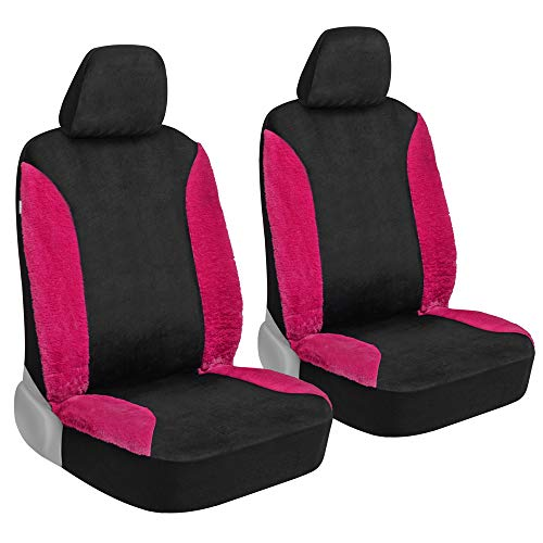 BDK Hot Pink Faux Wool Fur Car Seat Covers for Front Seats - Soft & Furry Cute...