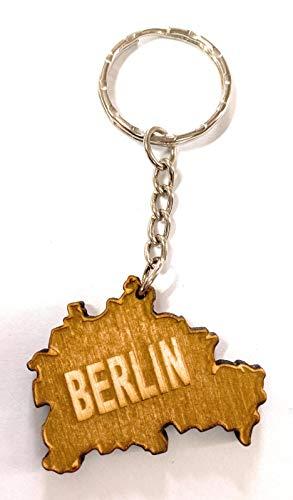 PERFEKTO24 Schlüsselanhänger aus Holz 'Berlin' graviert tolles Geschenk für Frauen und Männer Handmade in Germany 4cm x 2,5cm