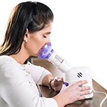 MABIS Personal Facial Steam Inhaler and Vaporizer with Aromatherapy Diffuser and Soft Face Mask for Sinus Pressure, Congestion and Cough, 25mL