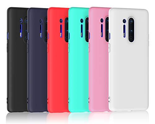 ivoler 6 Stücke Hülle für OnePlus 8 Pro, Ultra Dünn Tasche Schutzhülle Weiche TPU Silikon Gel Handyhülle Hülle Cover (Schwarz+Blau+Rot+Grün+Rosa+Weiß)