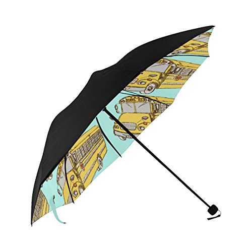 Bus Transportation Creative Design Hand Drawn Background Compact Travel Umbrella Sun Parasol Anti Uv Foldable Umbrellas(underside Printing) As Best Present For Women Sun Uv Protection