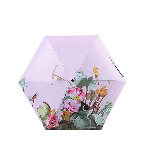 YNHNI Paraguas plegable con protección solar e impresión a prueba de lluvia y protección solar portátil paraguas de bolsillo, portátil (color rosa