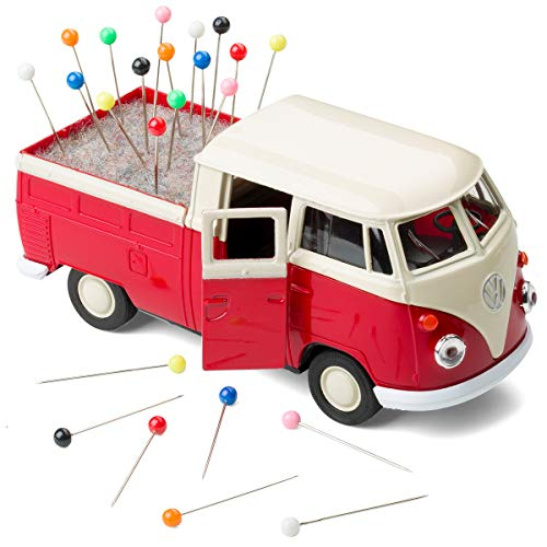 corpus delicti :: Alfiletero enrollable compatible con VW Bus Bulli T1 Transporter con inserto de fieltro incluido alfileres – Removedor de costura (rojo)
