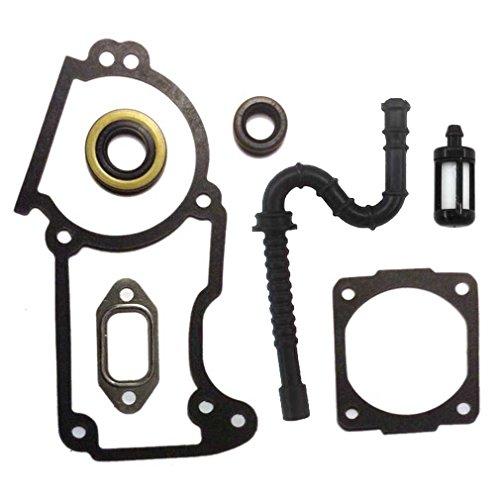 AISEN Dichtsatz + Simmerringe für Stihl MS240 MS260 026 024 Motorsäge Zylinder Auspuff Dichtung Set