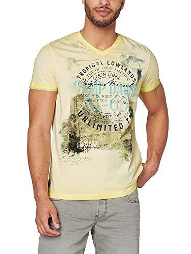 Camp David Herren T-Shirt Oil Dyed mit V-Neck und Photoprint