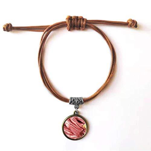 DIYthinker Pulseira de couro com textura de carne crua e carne crua, pulseira de couro com corda de couro marrom joia presente