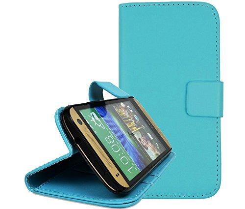 gada - Handyhülle für HTC One mini2 (M8) - Schicke Leder-Imitat Tasche Flipcase Wallet mit Magnetverschluss & Standfunktion - Hellblau