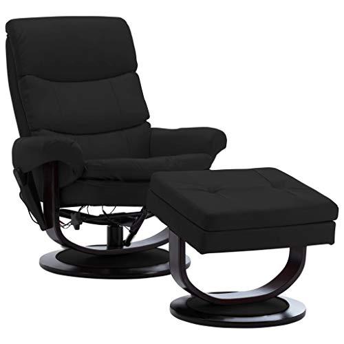 vidaXL Bugholz Massagesessel mit Fußhocker Heizfunktion TV Sessel Fernsehsessel Relaxsessel Ruhesessel Liegesessel Polstersessel Schwarz Kunstleder