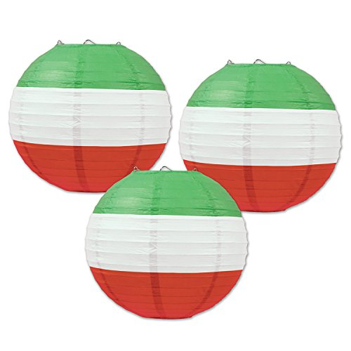 Beistle Multicolored Round Shaped Paper Lanterns, 9 1/2-Inch, Red/White/Green
