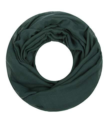 Majea Loop Cary Basic Schal Tuch Damen-schal Schlauchschal Rundschal Halstücher uni unifarben Loopschal einfarbig (pinie)