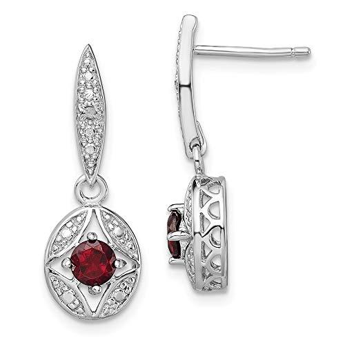 Broche de plata de ley pendientes de plata de diamante granate Post - JewelryWeb
