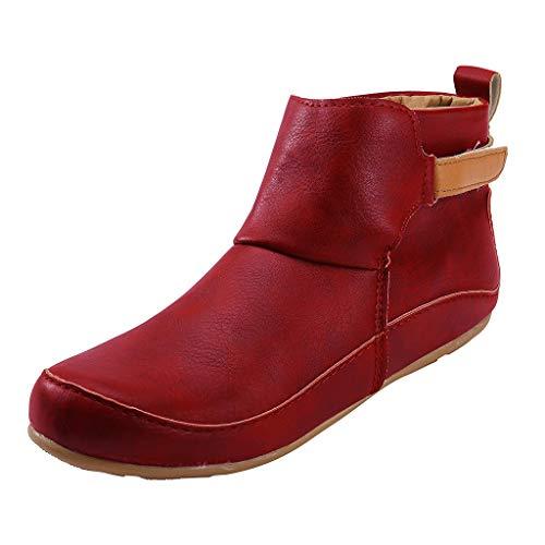 SuperSU-Stiefel Damen Herbst Flache Retro Stiefeletten Klassiker Casual Short Ankle Boots Schuhe Frauen Mode Wild Bequeme Römerstiefel Große Größen Stiefel Bankettschuhe
