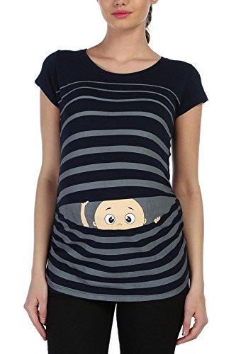 Witzige süße Umstandsmode T-Shirt mit Motiv Schwangerschaft Geschenk - Kurzarm (XL, Schwarz)