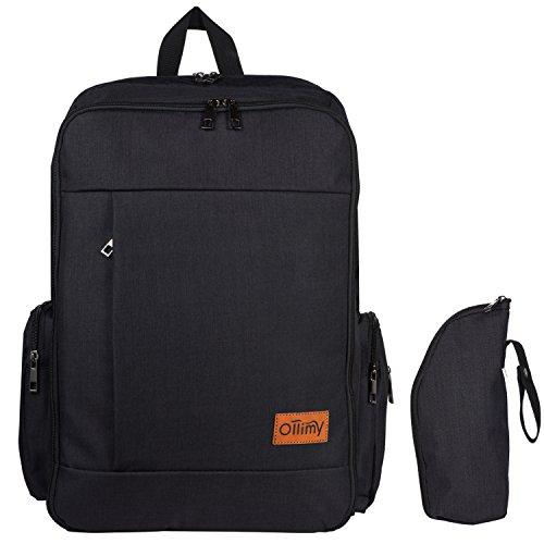 Diaper Bag Backpack - Designer Baby Bags Organizer Back Pack, Travel Knapsack with Stroller Straps Changing Pad for Moms Dads Girls Boys, Large Capacity (Ollimy Black)