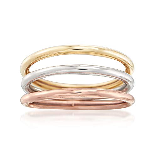 Ross-Simons 14kt Tri-Colored Gold Jewelry Set: 3 Polished Bands