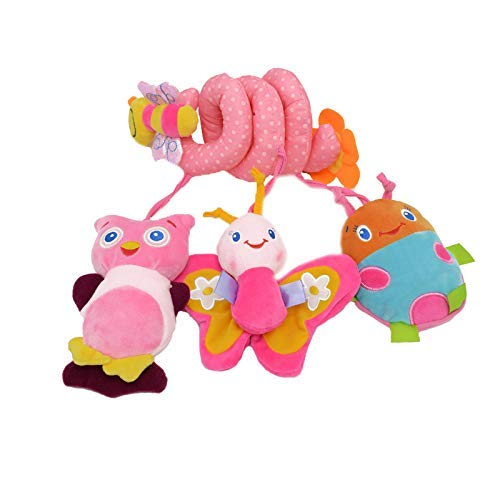 Iwinna Baby Pram Toys Spiral Activity Hanging Toys Stroller Toy Car Seat Bed Hanging Toys with Ringing Bell for 0-6 Months Baby, Boys, Girls (Colour 1)