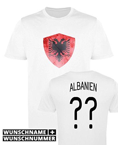 Comedy Shirts - Albanien Trikot - Wappen: Groß - Wunsch - Herren Trikot - Weiss/Schwarz Gr. M