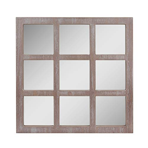"""Stonebriar Square Rustic 9 Panel Window Pane Hanging Wall Mirror with Worn White Finish and Attached Mounting Brackets, 23.5"""" x 23.5"""""""