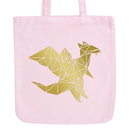 JUNIWORDS Jutebeutel in hellen Pastellfarben - Origami Drache - Tasche: Pastellrosa - Schrift: Gold