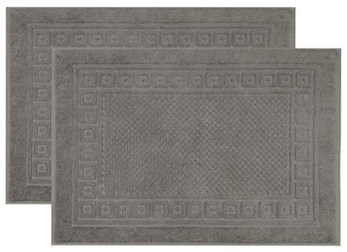 ZOLLNER Set de 2 alfombras de baño, Gris, algodón 100%, 50x70 cm