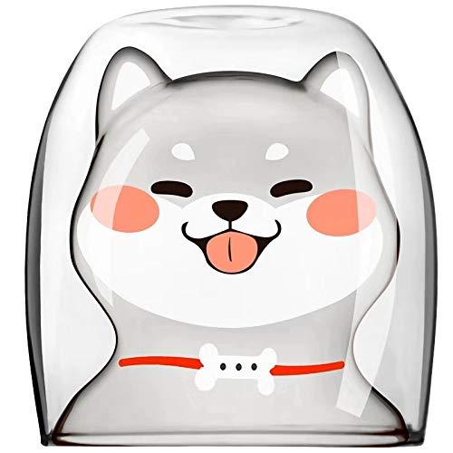 AniMug! Niedliche Shiba Inu Welpen, Glas-Tasse, Kaffeetasse, Kaffeetasse, Teetasse, süßes Tier, doppelwandige Wärmeisolierung, Geschenkidee 8.5 cm * 8.5 cm * 9 cm weiß