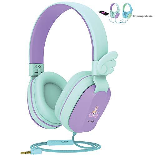 Kids Headphones, Riwbox CS6 Lightweight Foldable Stereo Headphones Over Ear Corded Headset Sharing...
