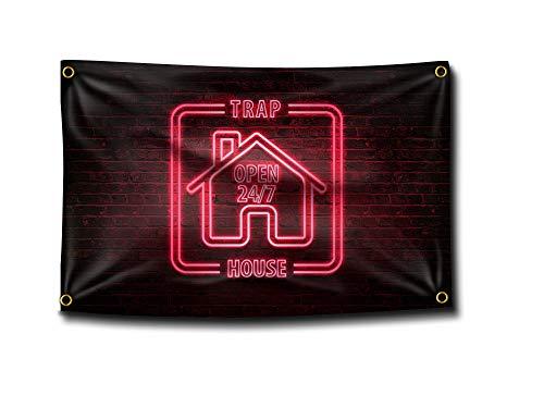 Banger - Trap House Neon Sign Flag Banner 3x5 Feet College Dorm